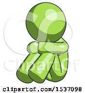 Green Design Mascot Man Sitting With Head Down Facing Angle Left