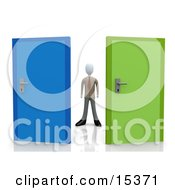 Uncertain Businessman Standing Between A Blue And A Green Door Trying To Decide Which Career Path To Take Clipart Illustration Image