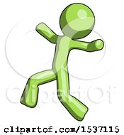 Green Design Mascot Man Running Away In Hysterical Panic Direction Left