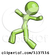 Green Design Mascot Woman Running Away In Hysterical Panic Direction Left
