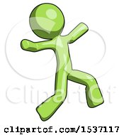 Green Design Mascot Man Running Away In Hysterical Panic Direction Right