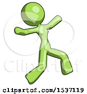 Green Design Mascot Woman Running Away In Hysterical Panic Direction Right