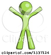 Green Design Mascot Man Surprise Pose Arms And Legs Out
