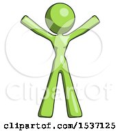 Green Design Mascot Woman Surprise Pose Arms And Legs Out