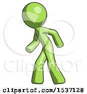 Green Design Mascot Man Suspense Action Pose Facing Left