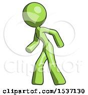 Green Design Mascot Woman Suspenseaction Pose Facing Left