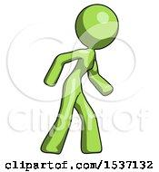 Green Design Mascot Woman Suspense Action Pose Facing Right