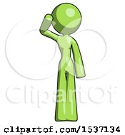 Green Design Mascot Woman Soldier Salute Pose