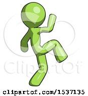 Green Design Mascot Man Kick Pose Start