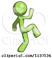 Green Design Mascot Woman Kick Pose Start