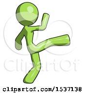 Green Design Mascot Woman Kick Pose
