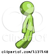 Green Design Mascot Man Floating Through Air Right