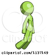 Green Design Mascot Woman Floating Through Air Right