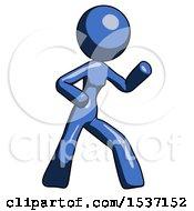 Blue Design Mascot Woman Martial Arts Defense Pose Right