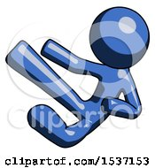 Blue Design Mascot Man Flying Ninja Kick Left