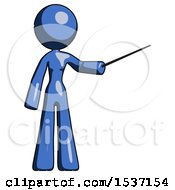 Blue Design Mascot Woman Teacher Or Conductor With Stick Or Baton Directing