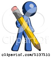 Blue Design Mascot Man Writing With Large Pencil