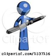 Blue Design Mascot Man Posing Confidently With Giant Pen