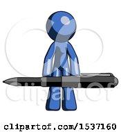 Blue Design Mascot Man Weightlifting A Giant Pen