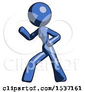 Blue Design Mascot Woman Martial Arts Defense Pose Left