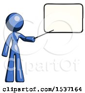 Blue Design Mascot Woman Pointing At Dry Erase Board With Stick Giving Presentation