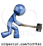 Blue Design Mascot Man Hitting With Sledgehammer Or Smashing Something