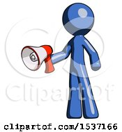 Blue Design Mascot Man Holding Megaphone Bullhorn Facing Right