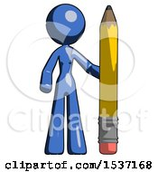 Blue Design Mascot Woman With Large Pencil Standing Ready To Write