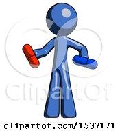 Blue Design Mascot Man Red Pill Or Blue Pill Concept