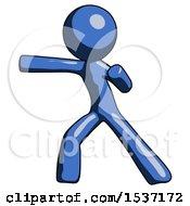 Blue Design Mascot Man Martial Arts Punch Left