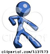 Blue Design Mascot Woman Karate Defense Pose Right