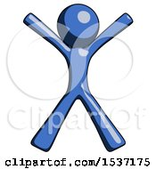 Blue Design Mascot Man Jumping Or Flailing