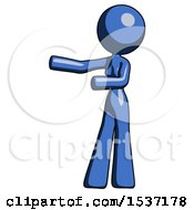Blue Design Mascot Woman Presenting Something To Her Right