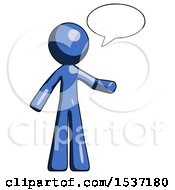 Blue Design Mascot Man With Word Bubble Talking Chat Icon