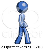 Blue Design Mascot Woman Turned Right Front View