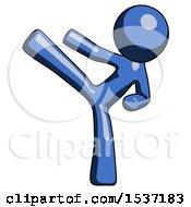 Blue Design Mascot Man Ninja Kick Left