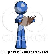 Blue Design Mascot Man Reading Book While Standing Up Facing Away