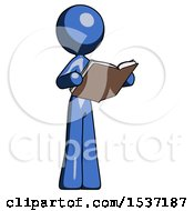Blue Design Mascot Woman Reading Book While Standing Up Facing Away
