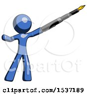 Blue Design Mascot Man Pen Is Mightier Than The Sword Calligraphy Pose