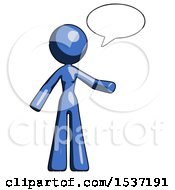 Blue Design Mascot Woman With Word Bubble Talking Chat Icon