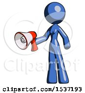Blue Design Mascot Woman Holding Megaphone Bullhorn Facing Right