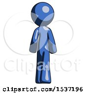 Blue Design Mascot Man Walking Away Back View