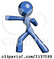 Blue Design Mascot Woman Martial Arts Punch Left
