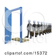 Line Of Businessmen Carrying Briefcases Standing In Front Of An Open Blue Door Symbolizing Job Applicants Or Great Job Opportunities And Advancement Clipart Illustration Image