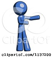 Blue Design Mascot Man Presenting Something To His Left
