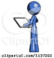 Blue Design Mascot Woman Looking At Tablet Device Computer With Back To Viewer