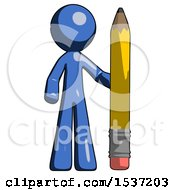 Blue Design Mascot Man With Large Pencil Standing Ready To Write