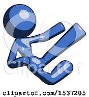 Blue Design Mascot Woman Flying Ninja Kick Right
