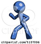 Blue Design Mascot Man Martial Arts Defense Pose Left