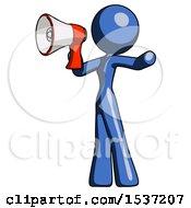 Blue Design Mascot Woman Shouting Into Megaphone Bullhorn Facing Left